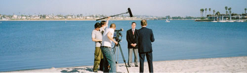 Photo of filming on location in San Diego